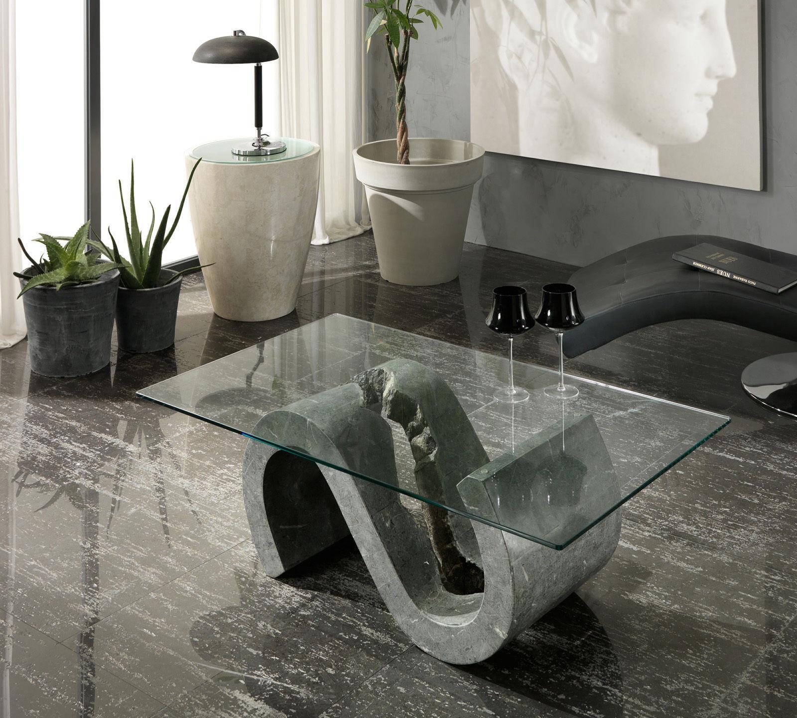 TAVOLINO VIRGOLA cm 120X70 Gray Stone E Piano in Vetro