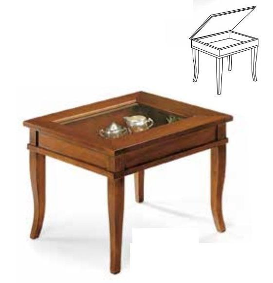 Tavolino Bacheca Arte Povera.Tavolino Bacheca In Arte Povera Noce Con Piano In Vetro