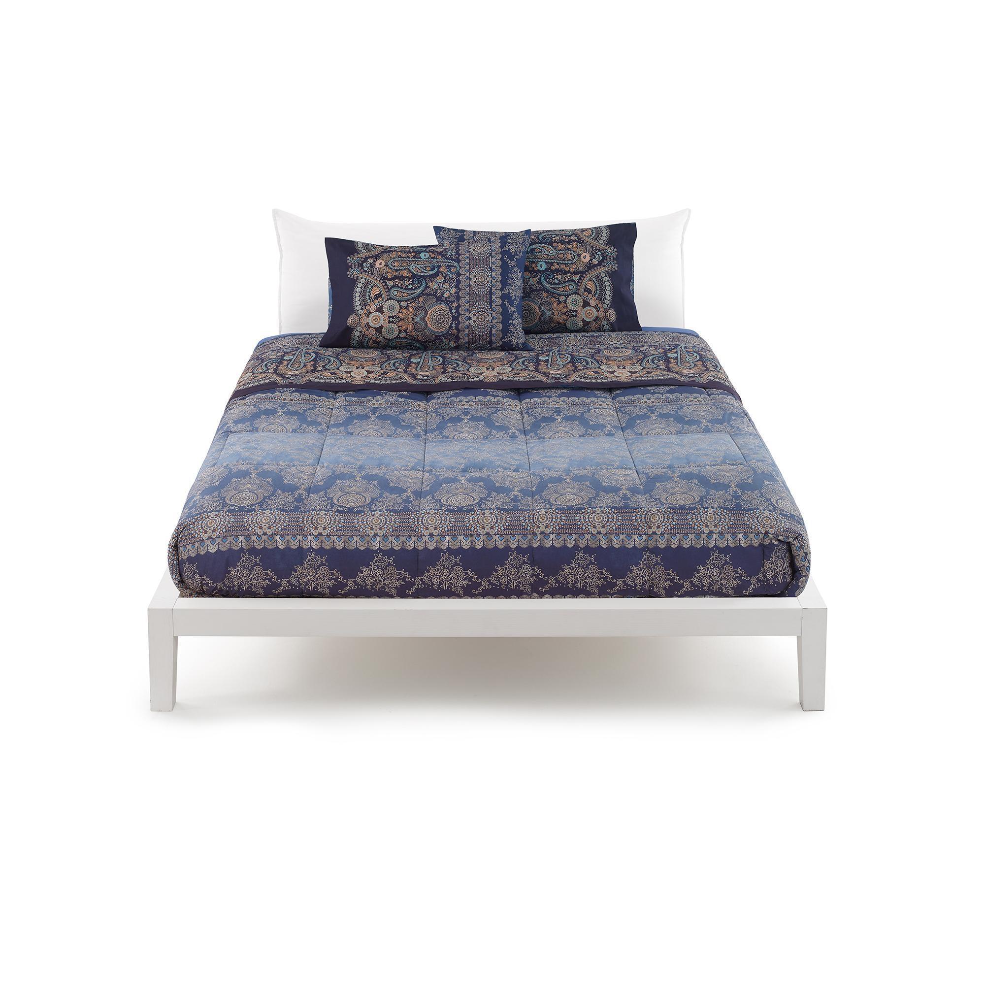 0806c7c563 Granfoulard-Blattset Bassetti double 2 Quadrate GRAN PARADISO v.3 blau