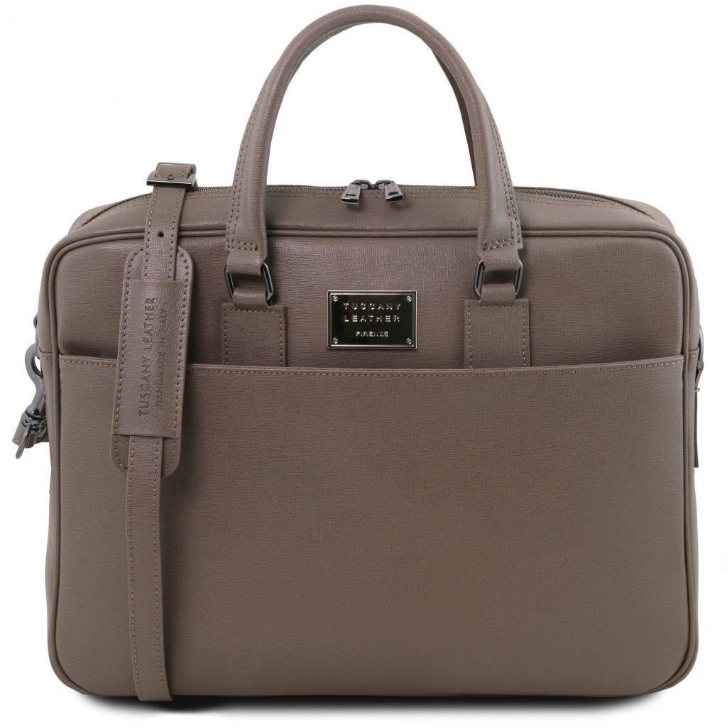 2fb87f7fe3 Tuscany Leather TL141627 Urbino - Cartella porta computer in pelle Saffiano  con tasca frontale Talpa scuro