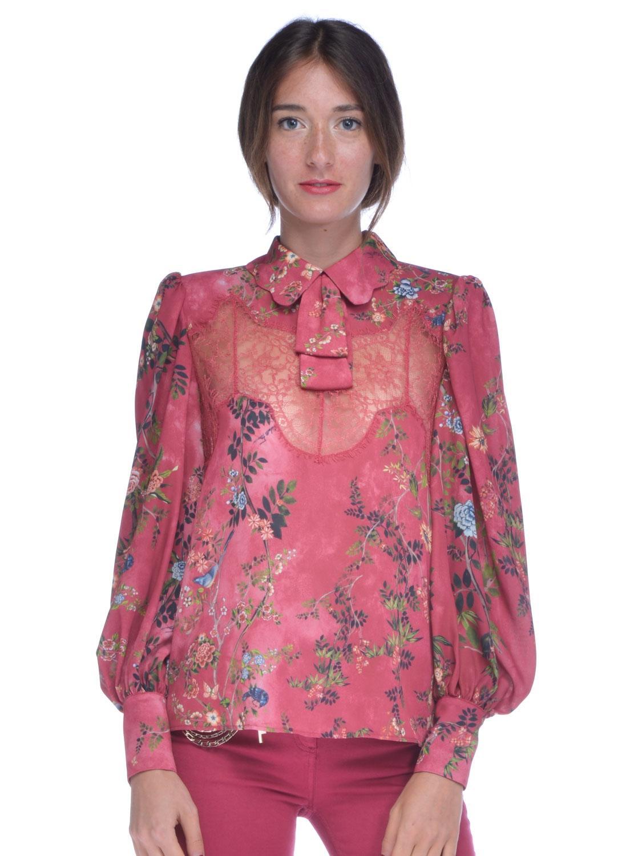 Camicia blusa donna Elisabetta Franchi inserti pizzo rosso  14a482bff06