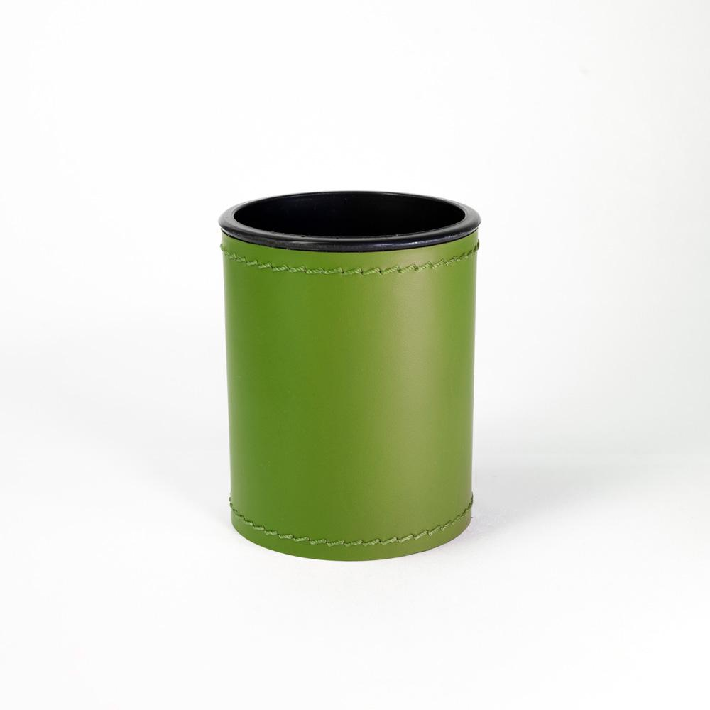 Scrivania Verde Mela.Portapenne Rotondo Scrivania In Vero Cuoio Verde Mela Cuciture Blu