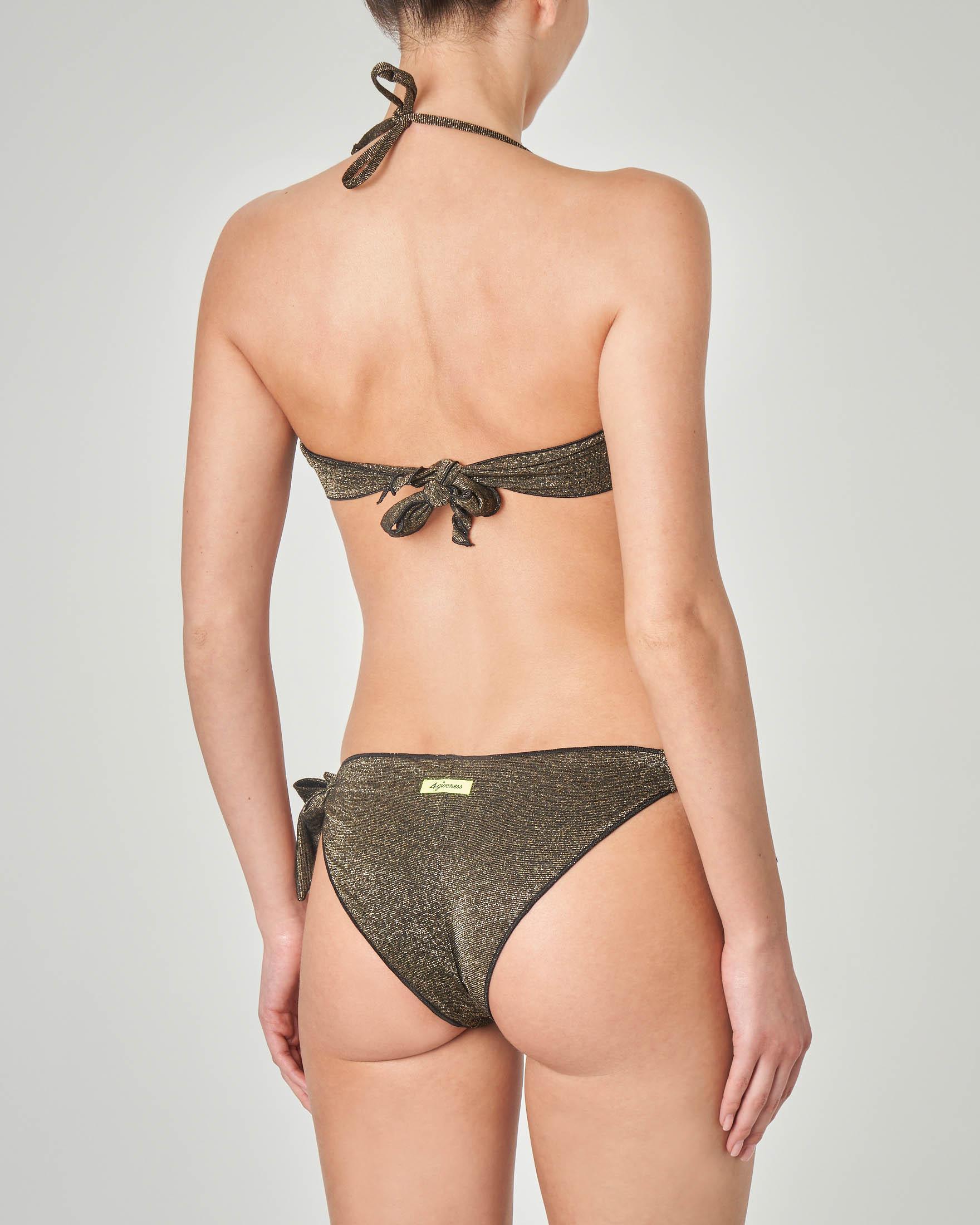 4d68b95b51fd Costume a fascia in lurex colore nero con profili ondulati · 4Giveness
