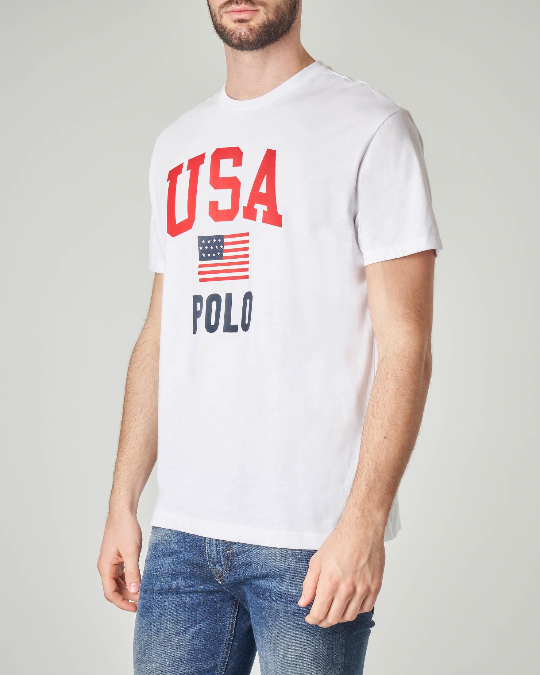 best value d45ca 7e316 T-shirt bianca con logo e bandiera USA | Pellizzari E-commerce