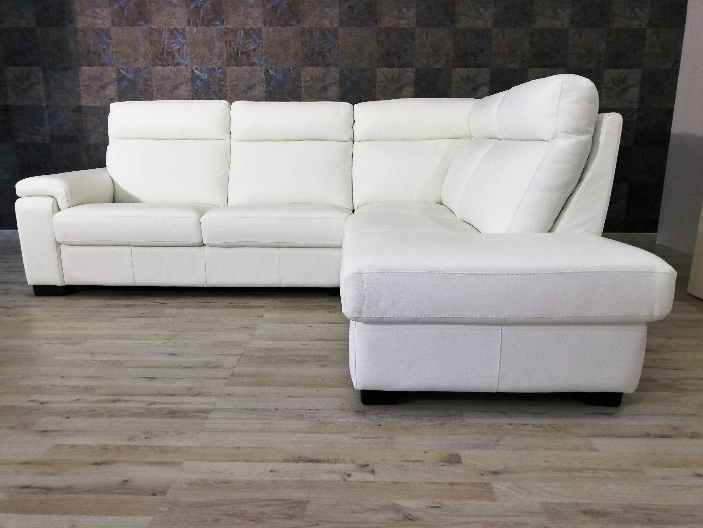 Offerta Divano angolare bianco 5 posti con schienale alto