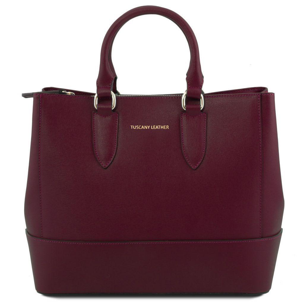 Tuscany Leather TL141638 TL Bag Borsa a mano in pelle Saffiano Bordeaux