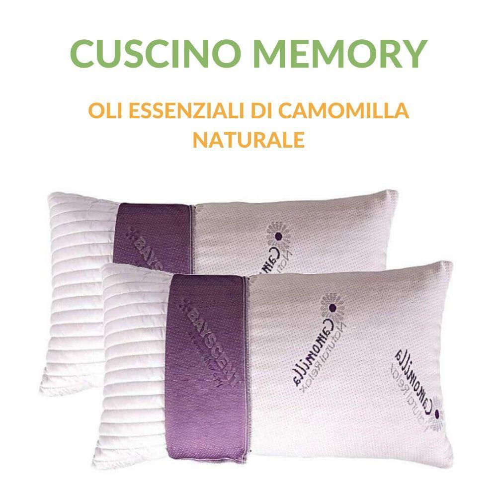 Cuscini Terapeutici Naturali.Cuscino 40x70 Alto 15 Cm In Memory Foam Oli Essenziali Di Camomilla