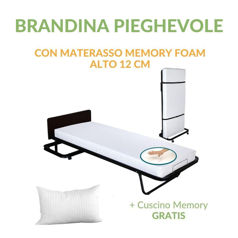 Brandina Letto Pieghevole Con Materasso.Brandina Pieghevole Con Materasso Memory Foam 80x190 Alto 12 Cm