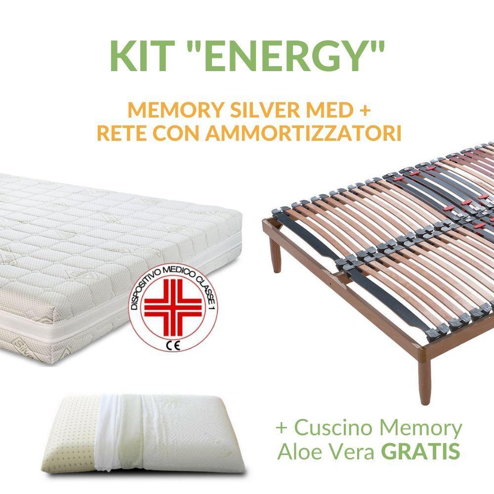 Reti Per Materassi In Memory.Kit Materasso Memory Silver Memory Med Rete A Doghe Cuscino Memory