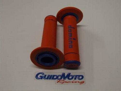 Coppia manopole domino in gomma arancio blu cross motard