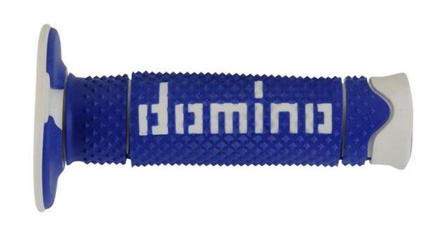 più recente Liquidazione del 60% adatto a uomini/donne Manopole Domino BLU/BIANCO gomma soft motocross, supermotard e enduro  A26041C4648A7-0