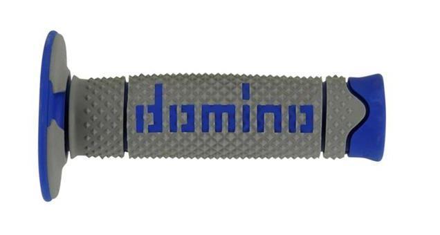 Manopole Domino in doppia gomma soft hand per motocross, supermotard e enduro. Grigio/Blu