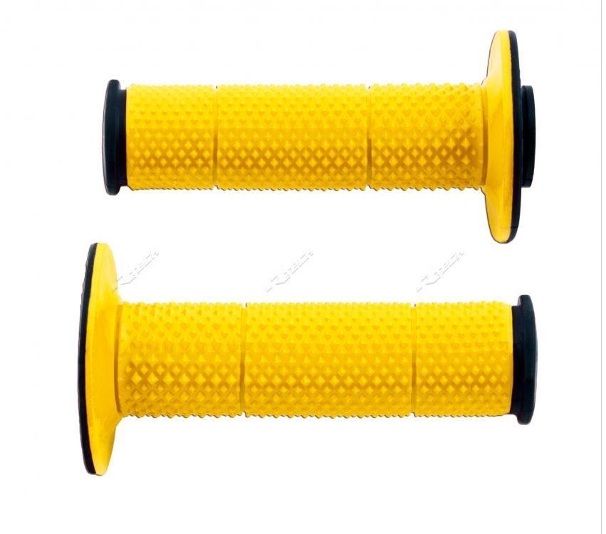 Manopole Racetech diamond per cross e motard. Nero/giallo