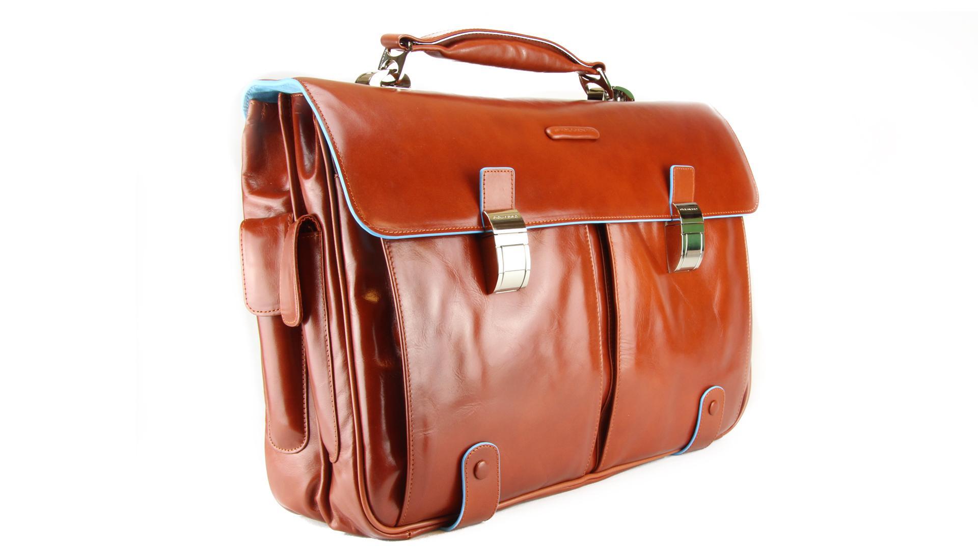 Briefcase Piquadro Blue square CA1068B2 Arancio