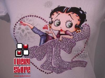 Betty Boop Cuore T-Shirt ragazza Maglia Manica Corta strass cotone Originale