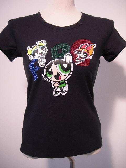 Powerpuff Superchicche T-Shirt ragazza strass maglia manica corta nuova cotone