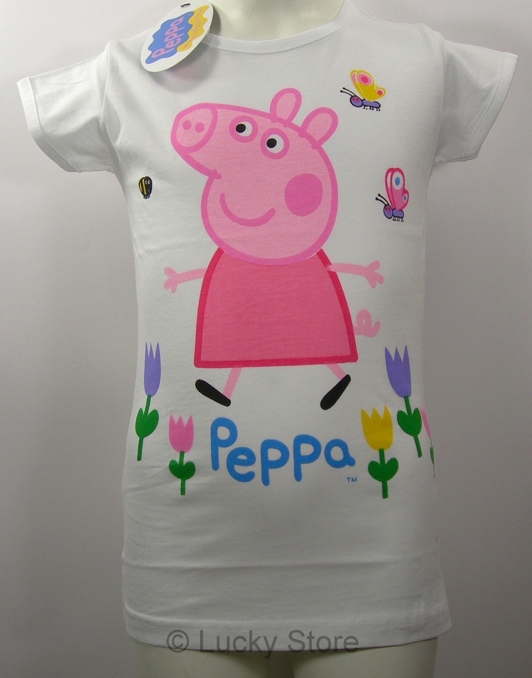 Peppa Pig t-shirt maglia bambina manica corta fiori farfalle nuova cotone