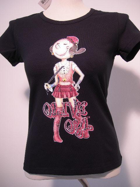 Olivia Oyl Skirt T-Shirt donna strass sfiancata manica corta nuova cotone