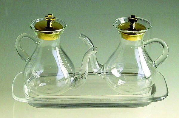 Ampolline vetro soffiato con vassoio
