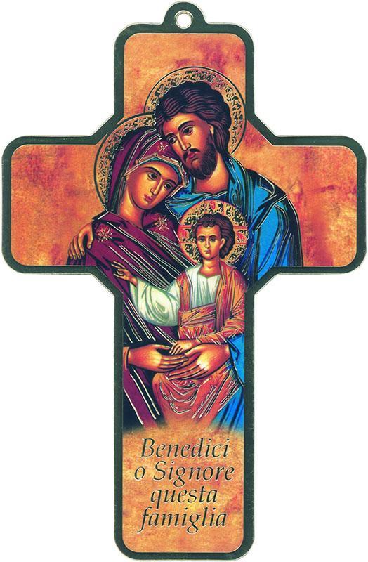 Croce pvc Sacra Famiglia oro (100 pz)