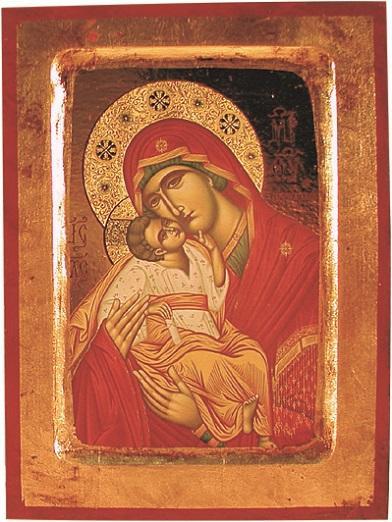 Icona scavata Madonna con Bimbo