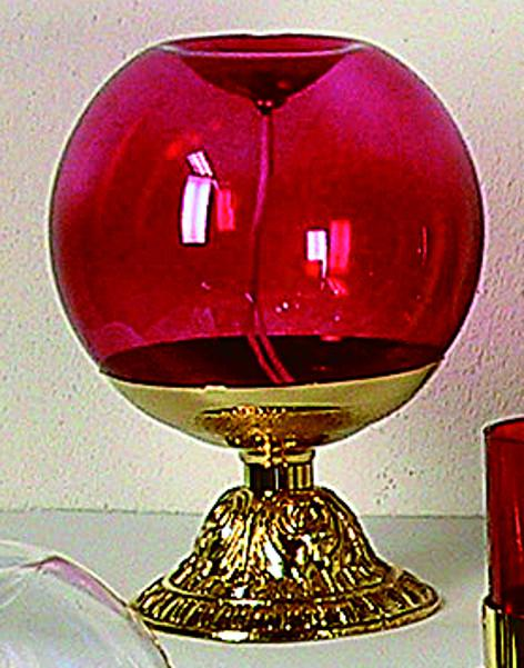 Lampada sfera vetro rosso