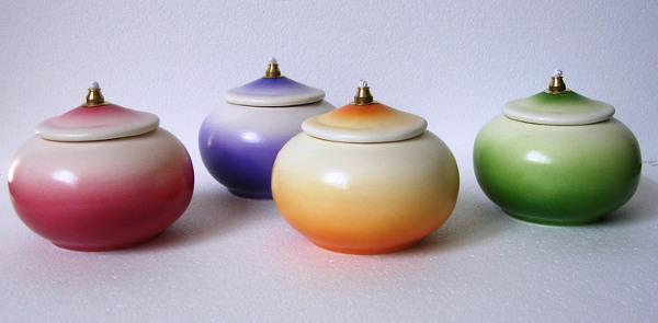 Lucerna ceramica tonda ad olio