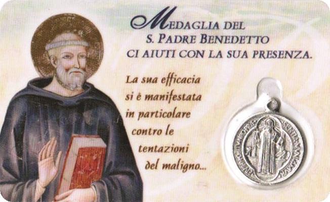 Tesserina con medaglia S. Benedetto