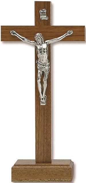 Croce in noce con base cm. 15