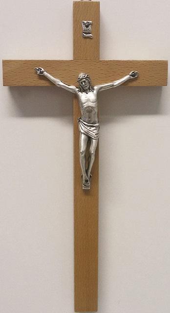 Croce legno cm. 20 corpo metallo