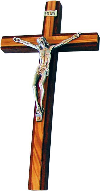 Croce legno cm. 25 mogano e ulivo