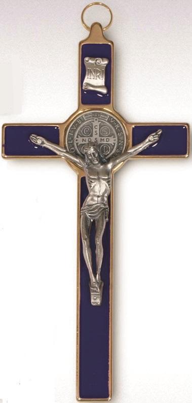 Croce metallo dorata S. Benedetto