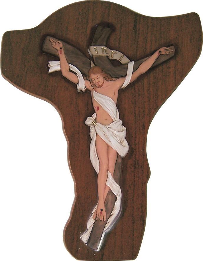Crocefisso legno corpo in resina