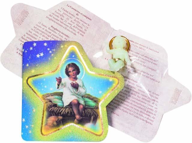 Gesù Bambino fosforo in cartoncino con preghiera