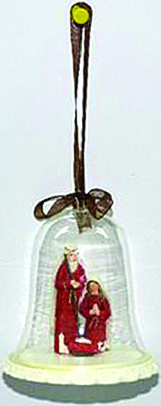 Natività rossa in campana vetro cm. 8