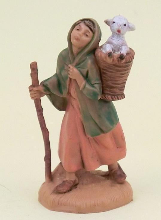 Donna con agnello nella gerla cm. 6,5
