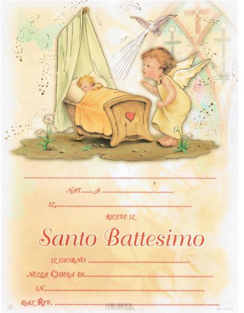 Pergamena Battesimo con oro