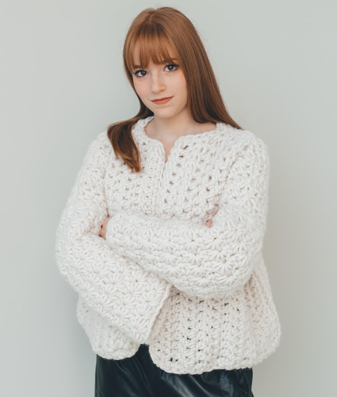 Wool - Knit Kits - SNOW FLAKE CARDI - 1
