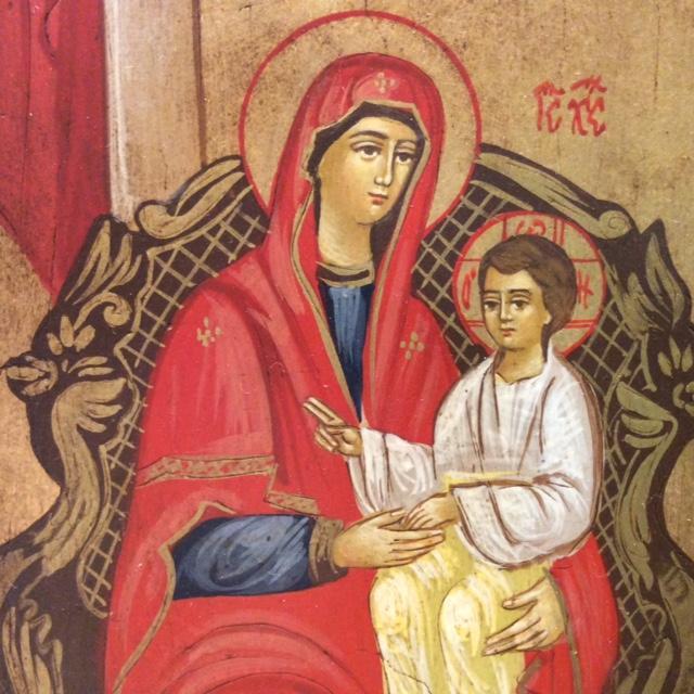 Icona rumena dipinta Sacra Famiglia Regale 22x18 cm