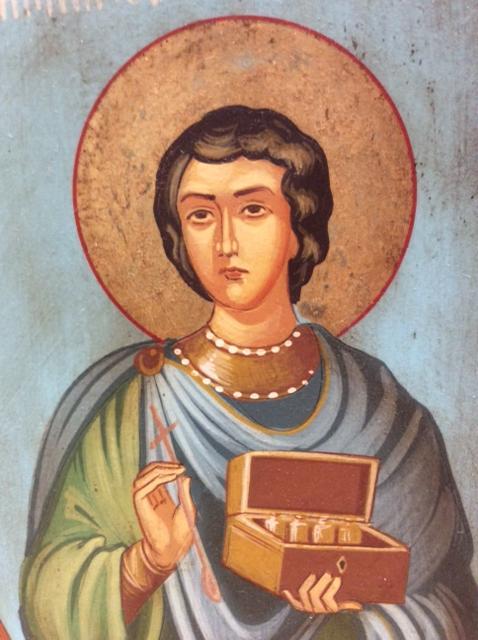 Icona rumena dipinta Santi Cosma e Damiano 31x21,5 cm