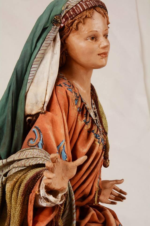 Maria Presepe Siciliano Angela Tripi 40 cm Terracotta e Stoffa