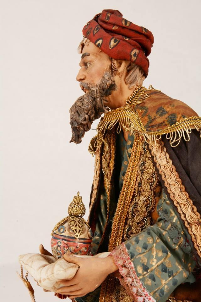 Re Magio Mulatto Presepe Siciliano Angela Tripi 40 cm Terracotta e Stoffa