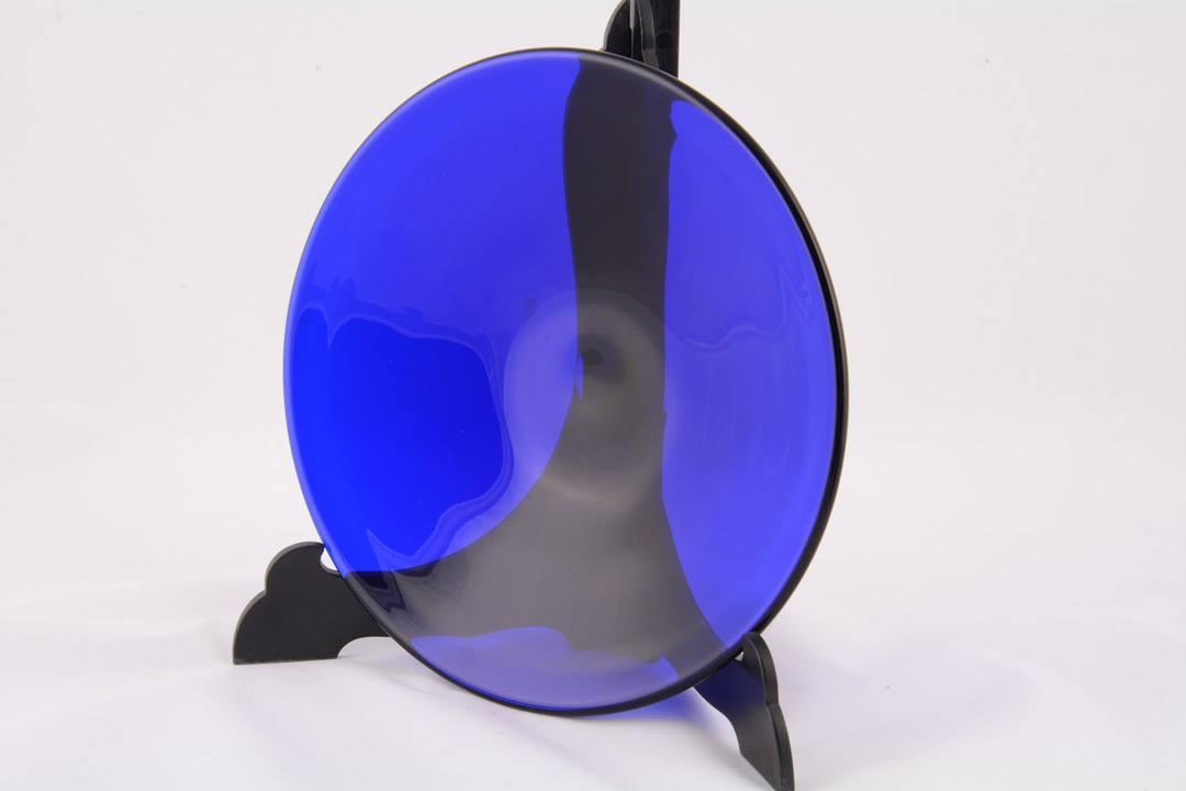 Calice in vetro di Murano blu e argento con patena