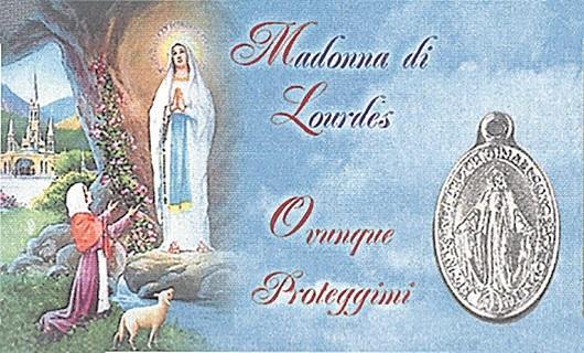 Tesserina con medaglia Madonna di Lourdes