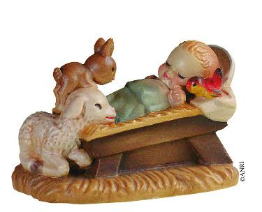 Gesù Bambino in culla cm. 15