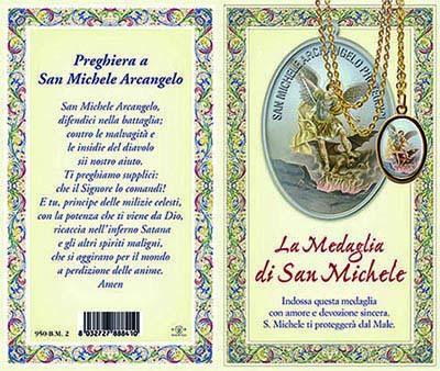 Biglietto storia preghiera medaglia di S. Michele
