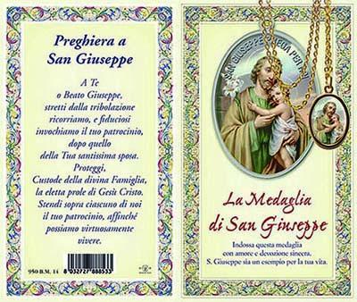 Biglietto storia preghiera medaglia di S. Giuseppe