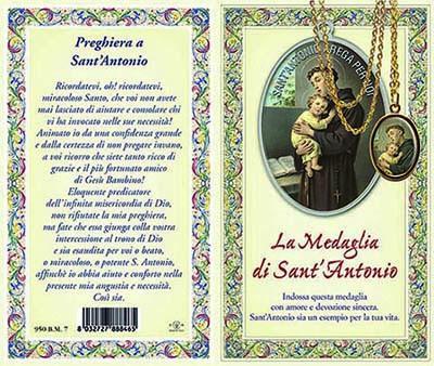 Biglietto storia preghiera medaglia di S. Antonio di Padova