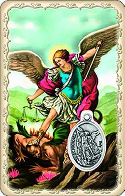 Pvc con medaglia e preghiera di S. Michele