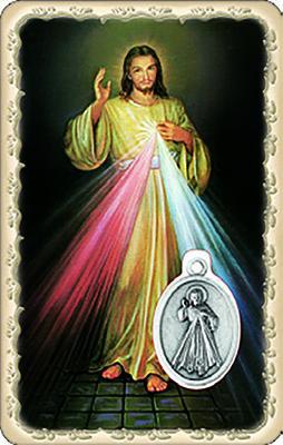 Pvc con medaglia e preghiera Gesù Misericordioso